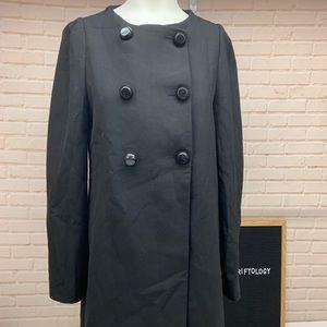 Zara Basic Black Large Button Peacoat Jacket M